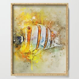 Yellow butterfly fish painted in bursting watercolor! Serving Tray