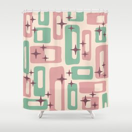 Retro Mid Century Modern Abstract Pattern 222 Dusty Rose and Pastel Green Shower Curtain