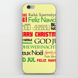 merry christmas in different languages I iPhone Skin