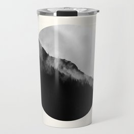 Mid Century Modern Round Circle Photo Black And White Misty Pine Trees Cliff Travel Mug