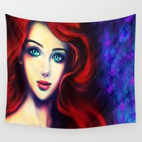 ariel Wall Tapestries featuring Ariel by Amanda Lee