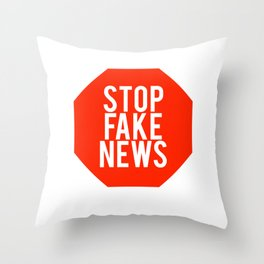 Stop Fake News Media Politics Trump Republican print Throw Pillow