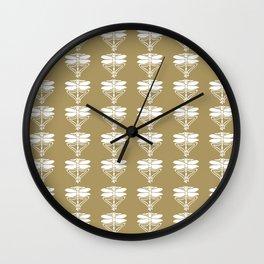 Teak Arts and Crafts Dragonflies Wall Clock