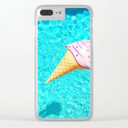 pink ice cream cone float all up in my pool yo Clear iPhone Case