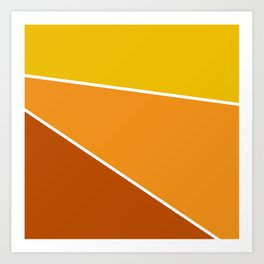 Diagonal Color Blocks in Yellow and Orange Art Print