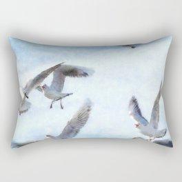 Gulls In Flight Watercolor Rectangular Pillow