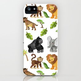 Safari Animals Pattern Watercolor iPhone Case