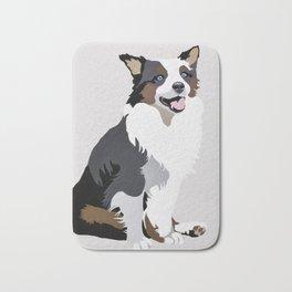 Woof on grey Bath Mat