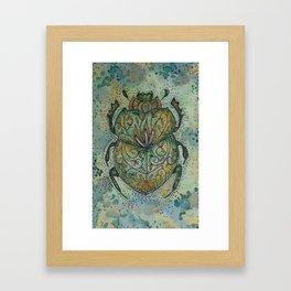 Green Scarab Beetle Framed Art Print