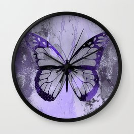 Abstract Butterfly Art Ultraviolett Colors Wall Clock