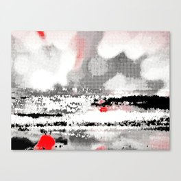 Abstract Seascape - Black, White, Red Canvas Print
