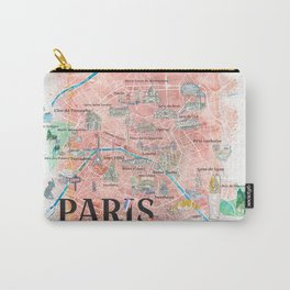 Paris France Illustrated Map with Main Roads, Landmarks & Highlights Carry-All Pouch