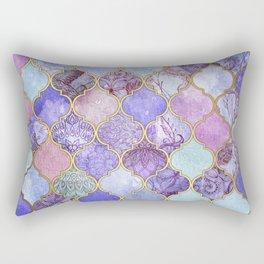Royal Purple, Mauve & Indigo Decorative Moroccan Tile Pattern Rectangular Pillow