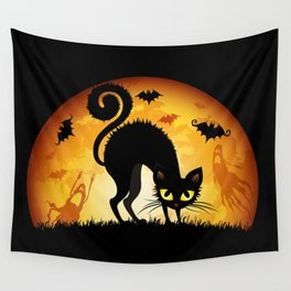 Starry Night Cat Wall Tapestry