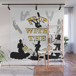 Be Up With The Boards Yellow Text And Kitesurfer Vector Wall Mural