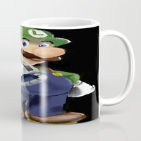 luigi Mugs featuring Luigi by Halohappy