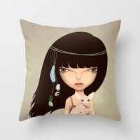 boho Throw Pillows featuring boho by Anne  Martwijit