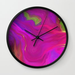AGATE INTERPRETED:  PINK LAVA BEDS OIL PAINTING Wall Clock