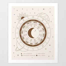 Lunar Calendar 2021 Beige Art Print