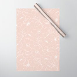 Floral Simplicity - Botanical Line Art - Pink Wrapping Paper
