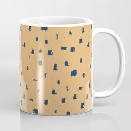 Blue spots on yellow minimalistic brushstrokes print Coffee Mug