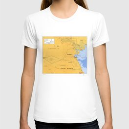Gulf War Boundaries Map, Saudi Arabia, Iraq, Kuwait (1991) T-shirt