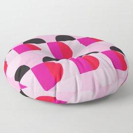Mid Century Modern Pink Red Black Geometric Floor Pillow