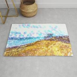 Life Guard Station On A Lonely Beach Rug