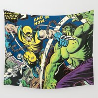 super hero Wall Tapestries featuring Canadian Super Hero! by WaXaVeJu