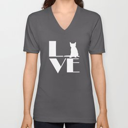 Love, Cat Unisex V-Neck