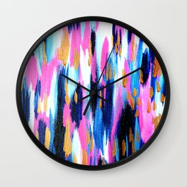 Spring Golden - Pink and Navy Abstract Wall Clock