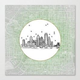 Philadelphia, Pennsylvania City Skyline Illustration Drawing Canvas Print