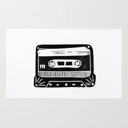 Linocut cassette tape retro analog tape 80s 90s technology gifts Rug