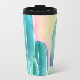 Cactus in coral Travel Mug