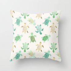 Gilded Jade & Mint Turtles Throw Pillow
