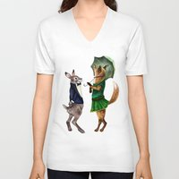 hare V-neck T-shirts featuring Fox and Hare by Anna Shell
