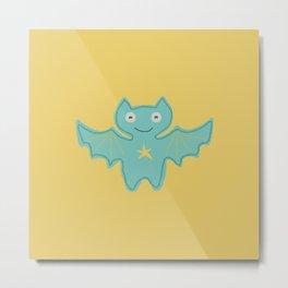 Turquoise Bat Metal Print