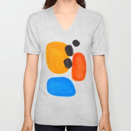 Abstract Mid Century Modern Colorful Minimal Pop Art Yellow Orange Blue Bubbles Ovals Unisex V-Neck