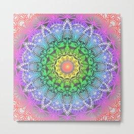 Rainbow Flower Mandala Metal Print