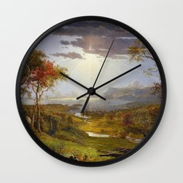 Autumn & Rays of Sun in the Hudson River Valley by Jasper Francis Cropsey Wall Clock