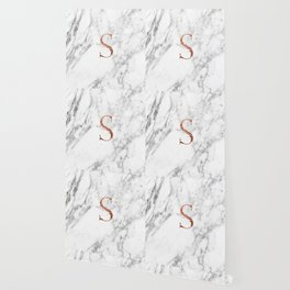 Monogram rose gold marble S Wallpaper