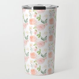 Blush pink orange watercolor hand painted roses floral Travel Mug