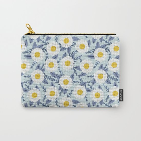 daisy flower white blue navy gold watercolor painting bohemian gardener gift unique floral pattern Carry-All Pouch