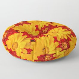 A Medley of Red and Yellow Marigolds Floor Pillow