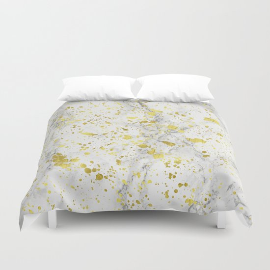 Marble and Golden Stains Duvet Cover