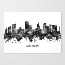 Madison Wisconsin Skyline BW Canvas Print