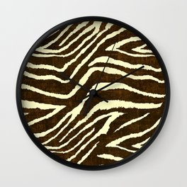 Animal Print Zebra in Winter Brown and Beige Wall Clock