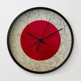 Grunge Japan flag Wall Clock