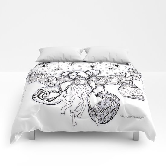 Christmas Zentangle Swag in Black and White for Adult Colorists Comforters