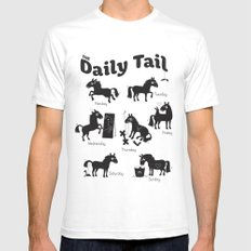 The Daily Tail Horse SMALL White Mens Fitted Tee